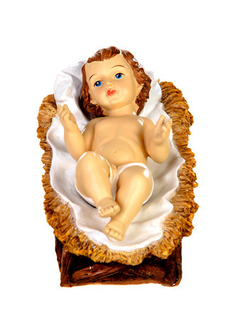 Photo for Baby Jesus Christmas rustic isolated on a white background - Royalty Free Image