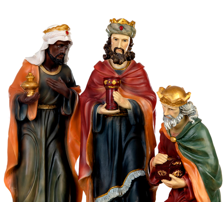 Foto de The three wise men. Ceramic figures isolated on white background - Imagen libre de derechos