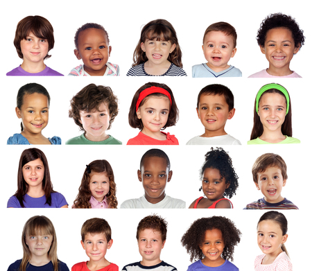 Photo for Many portraits of different children isolated on a white background - Royalty Free Image
