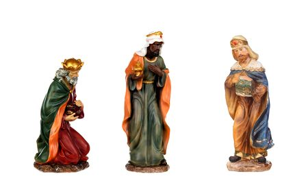 Photo pour The three wise men. Ceramic figures isolated on white background - image libre de droit