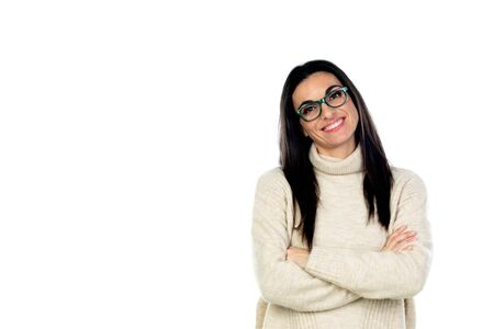Photo pour Attractive brunette woman with glasses isolated on a white background - image libre de droit