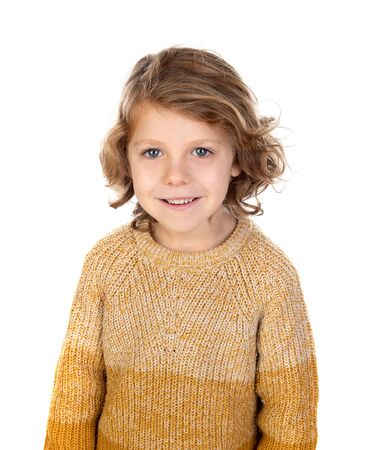 Photo for Happy blond child with long hair isolated on a white background - Royalty Free Image
