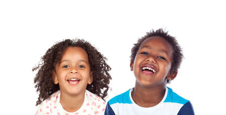 Photo for Happy children laughing isolated on a white background - Royalty Free Image