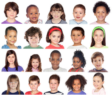 Photo for People Set of Diversity Kids Playful Studio Collage - Royalty Free Image