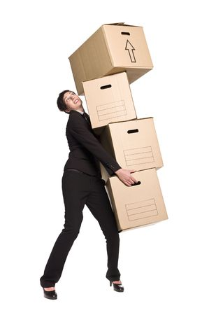 Woman with four boxes