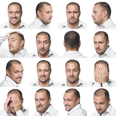 Foto de Sixteen facial expressions of a man - Imagen libre de derechos
