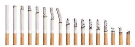 Time lapse - Burning cigarette isolated on white