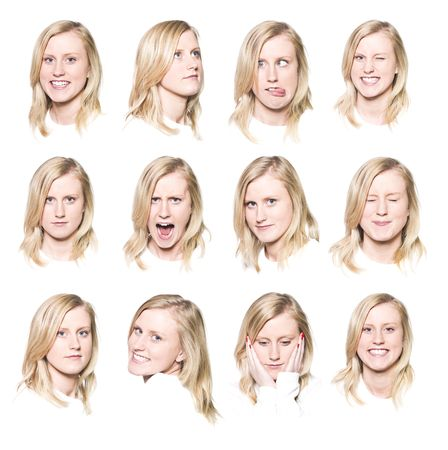 Twelve portraits of a young woman with different facial expressions