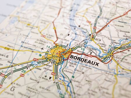 Map of Bordeaux in France