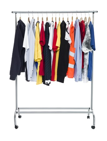 Clothes on a Rack isolated on white Background