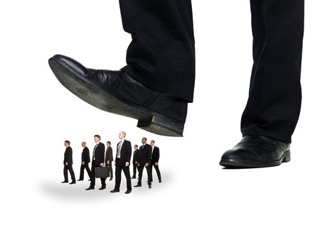 Group of Businessmen under a sole isolated on white background