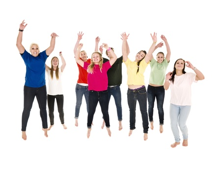 Jumping Happy People on white background