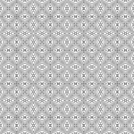 Illustration pour Monochrome seamless abstract pattern. Geometrical texture from oval thin lines of the rhombuses creating forms, a flower.  Surface for wrapping paper, shirts, cloths.  Vector graphics. - image libre de droit