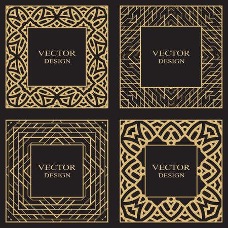 Illustration pour Set of a geometric rectangular stylish frames. Art ornament of elements of design of luxury goods,   monograms. Vector illustration. - image libre de droit