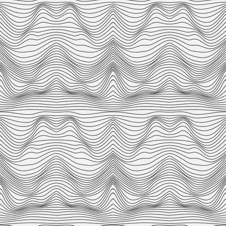 Illustration pour Wavy linear texture. Abstract background of a surface with optical illusion of distortion. Relief background with optical distortion illusion. Vector graphic. - image libre de droit