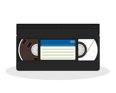 Illustration for Retro video cassette with blue and white sticker isolated on a white background. Vintage style movie storage icon. Old record video recorder tape. Vector illustration. - Royalty Free Image