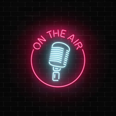 Illustration pour Neon on the air sign with retro microphone in round frame. Nightclub with live music icon. Glowing signboard of radio station. Sound cafe icon. Music show poster. Vector illustration. - image libre de droit