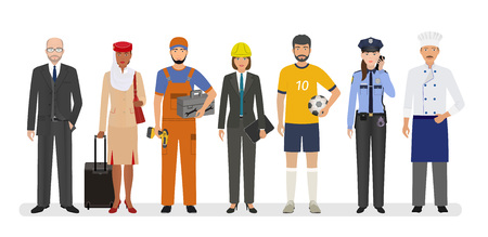 Ilustración de Employee and workers characters standing together. Group of seven people with different occupation. Employment and labor day banner. Vector illustration. - Imagen libre de derechos