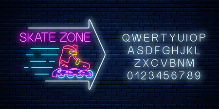 Illustration pour Skate zone glowing neon sign with guide arrow and alphabet on dark brick wall background. Roller skates rental symbol in neon style. Vector illustration. - image libre de droit