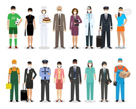 Photo pour Group of people with different occupation wearing protective edical mask for prevent virus covid-19. Employment and labor day banner. Employee and workers characters together. Vector illustration. - image libre de droit
