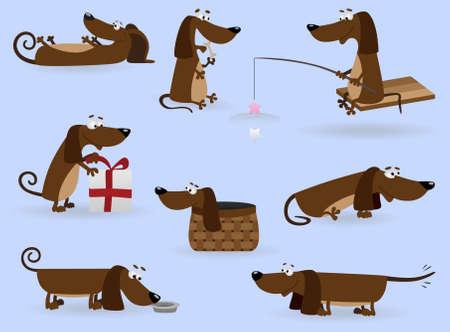 Funny dachshund set (Illustration for web design)