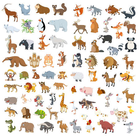 Extra big vector animals and birds set