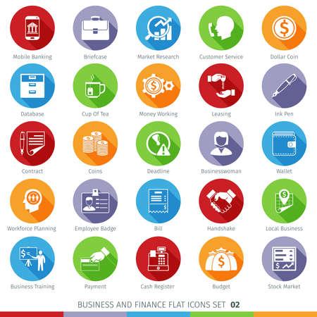 Ilustración de Business and Finance Long Shadow Flat Icons Set 02 - Imagen libre de derechos