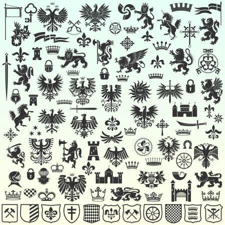 Ilustración de Silhouettes Of Heraldic Design Elements - Imagen libre de derechos