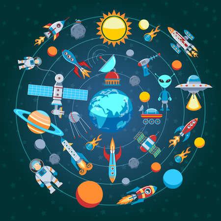 Illustration pour Circle Flat Composition Of Space Icons - image libre de droit