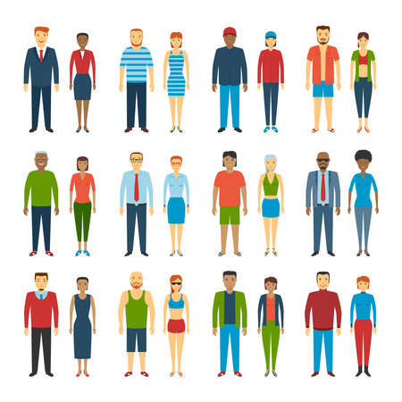Illustration pour Set Of People Standing On White Background. Different dress styles. Vector Illustration - image libre de droit
