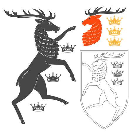 Ilustración de Noble Deer Illustration For Heraldry Or Tattoo Design Isolated On White Background. Heraldic Symbols And Elements - Imagen libre de derechos