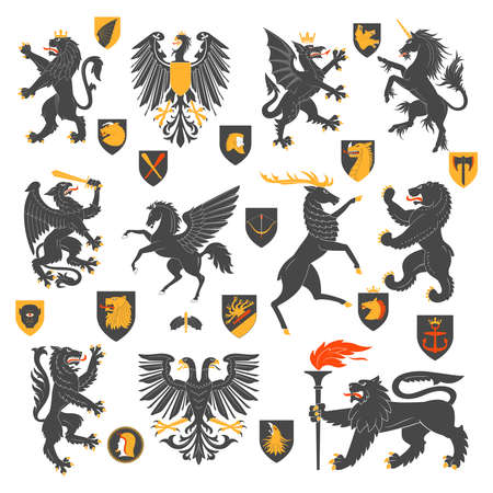 Illustration pour Set Of Heraldic Animals And Elements. Vector Illustration - image libre de droit