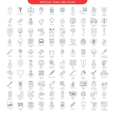 Photo for One Hundred Thin Line Icons Set Of Medical And Health Care. Web Elements Collection - Royalty Free Image