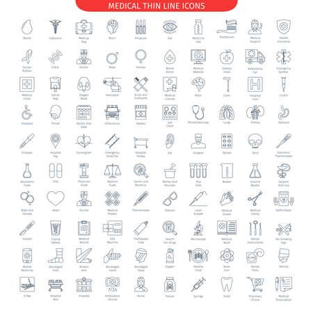 Ilustración de One Hundred Thin Line Icons Set Of Medical And Health Care. Web Elements Collection - Imagen libre de derechos