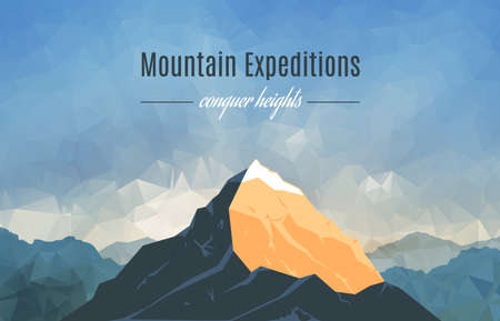 Illustration pour Landscape With Mountain Peaks On Triangulated Background. Polygonal Art. Mountain Expedition Banner. Modern Design Vector Illustration - image libre de droit