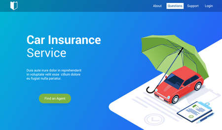 Illustration pour Isometric landing page template for car insurance. Vector illustration mock-up for website and mobile website - image libre de droit