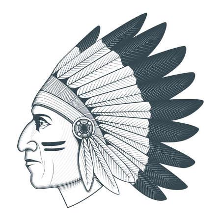 Illustration pour American native chief head illustration - image libre de droit