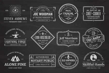 Illustration pour Set of vintage template chalk - image libre de droit