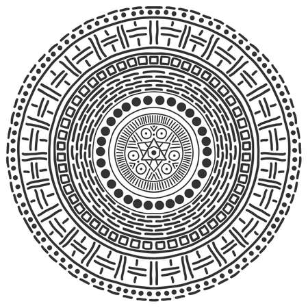 Illustration pour Mandala pattern black and white. Vector mystical background. Graphic abstract background. Black design element. Ethnic round ornament decoration. - image libre de droit