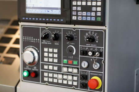 Photo for Control console of a CNC machining center. Selective focus. - Royalty Free Image