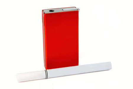Cigarette and lighter isolated on white
