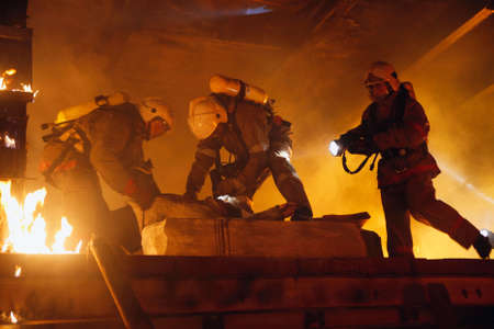 Rescue team help accident victim