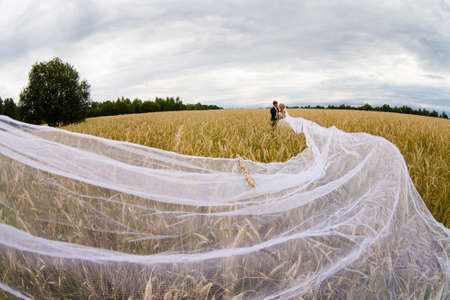 Bridegroom and bride with very long bridal veil is standing in the field on a background of clouds