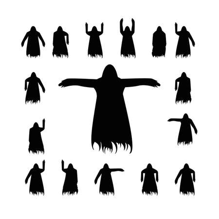 Set flying ghost silhouette isolated on a white background