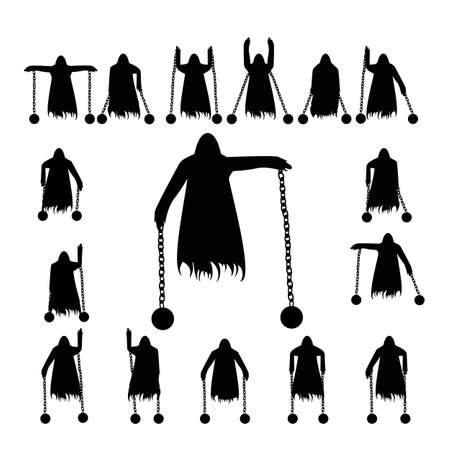 Set flying ghost clad in chain silhouette isolated on a white background