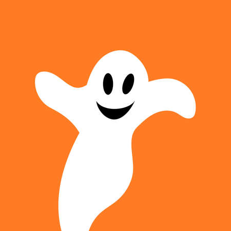 Flying ghost spirit. Happy Halloween. Scary white ghosts. Cute cartoon spooky character. Smiling face, hands. Orange background Greeting card.