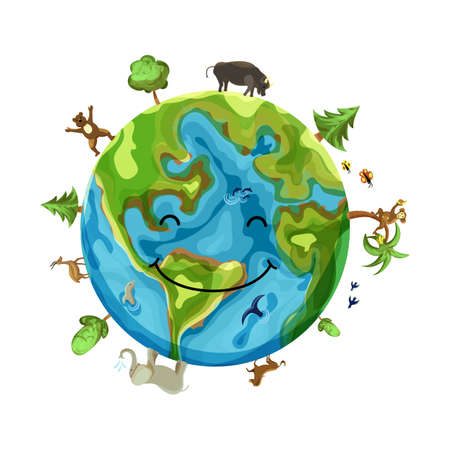 Illustration pour Cartoon Earth Illustration. Planet smile with animals, insects and trees. - image libre de droit