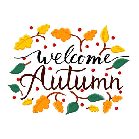 Modern brush phrase welcome autumn. Background with the image of a leaf fall.