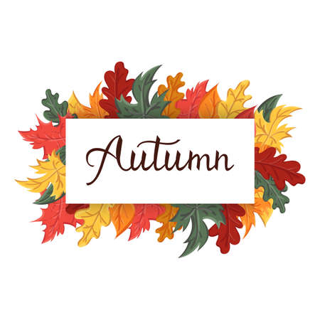Modern brush phrase autumn. Background with the image of a leaf fall.