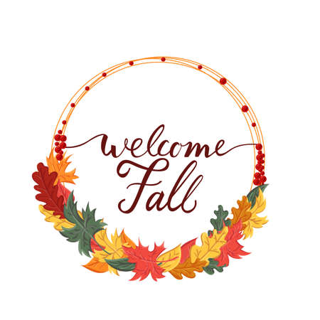 Background with the brush phrase welcome fall and leaves